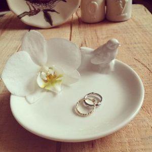 кольца на фарфоровой тарелке