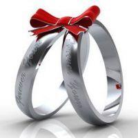 кольца, связанные бантом