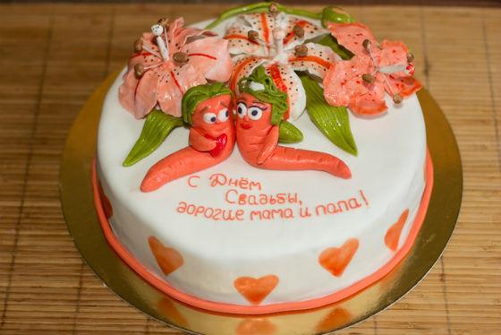 Торт на годовщину свадьбы родителям от детей